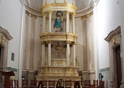 Interior view of Alamos mission church